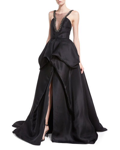 Embellished Satin Ball Gown