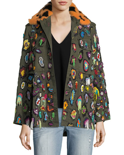 Beaded Army Jacket with Fur Collar