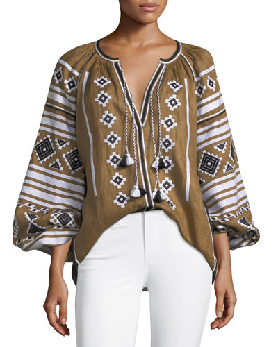 Embroidered Poet-Sleeve Linen Tassel Tunic
