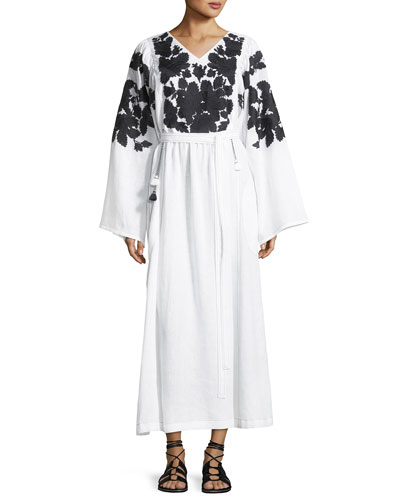 Summer Garden Embroidered Linen Kimono-Sleeve Dress