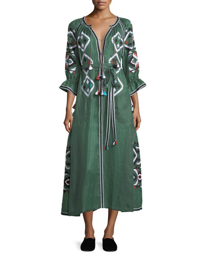 Fatima's Eye Diamond-Embroidered Belted Linen Dress