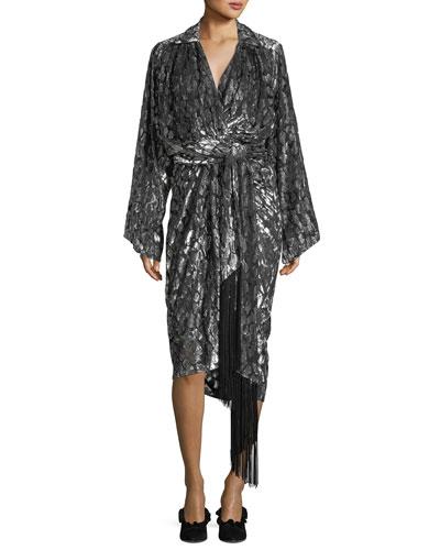Leopard Velvet Fil Coupe Kimono Wrap Dress