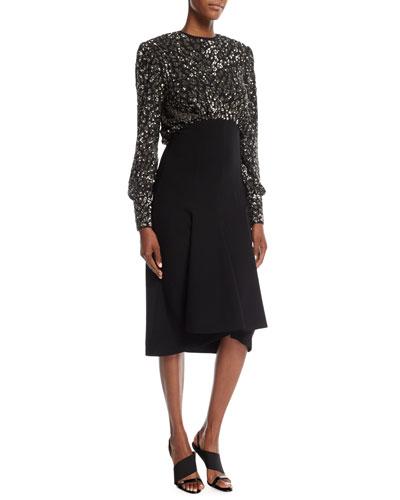 Sequined Leopard-Bodice Pebble Crepe Dress