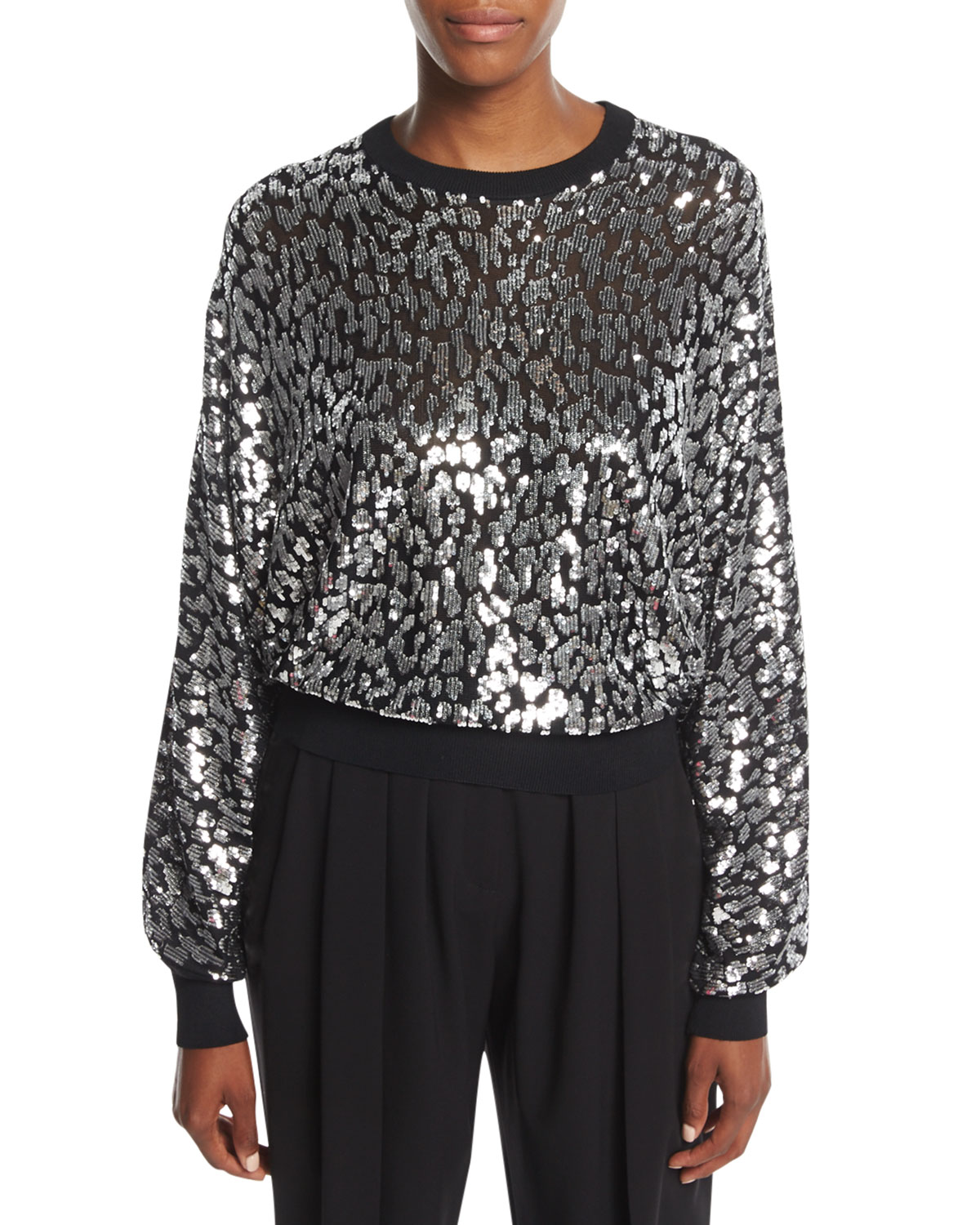Sequined Leopard Sweatshirt