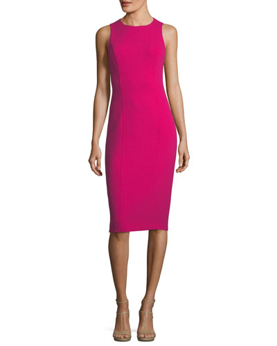 Sleeveless Boucle Crepe Sheath Dress