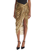Metallic Cheetah Fil Coupe Sarong Skirt