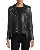 Whiskey Star-Studded Fringed Leather Moto Jacket