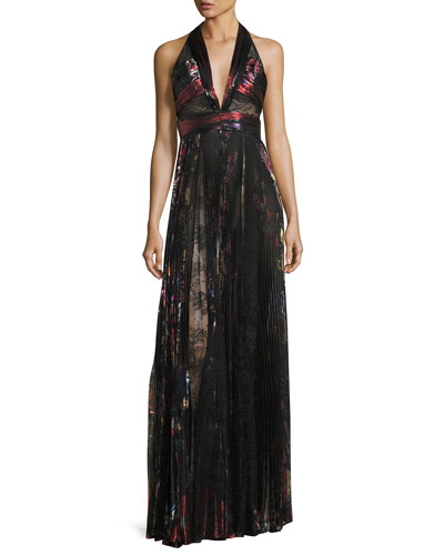 Pleated Lamé & Lace Halter Gown