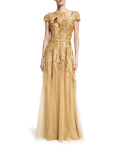 Embroidered Tulle Cap-Sleeve Flared Gown