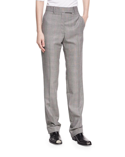 Plaid Worsted Wool Straight-Leg Trousers