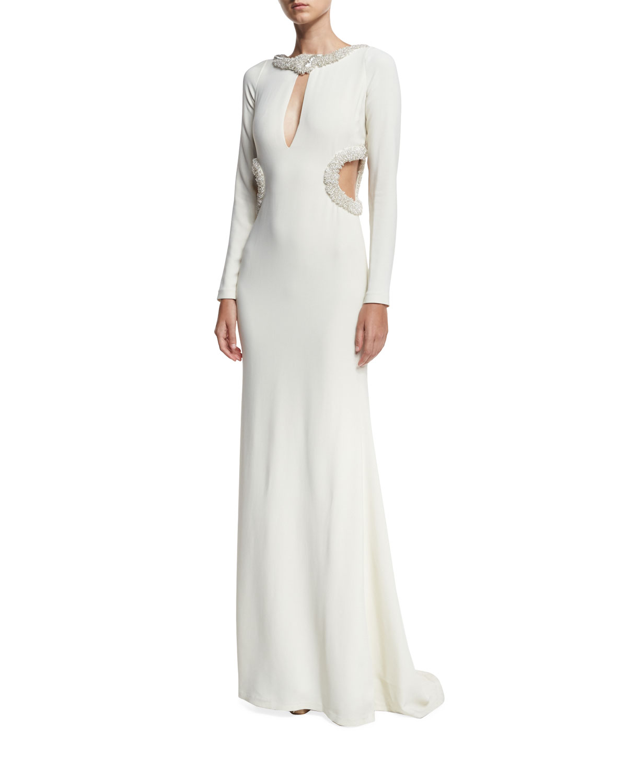 Beaded Keyhole Column Gown