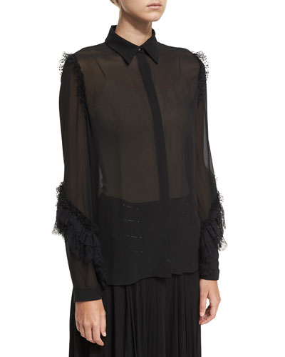 Lace-Trim Semisheer Silk Blouse