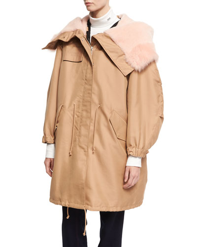 Cotton-Silk Parka with Shearling Hood