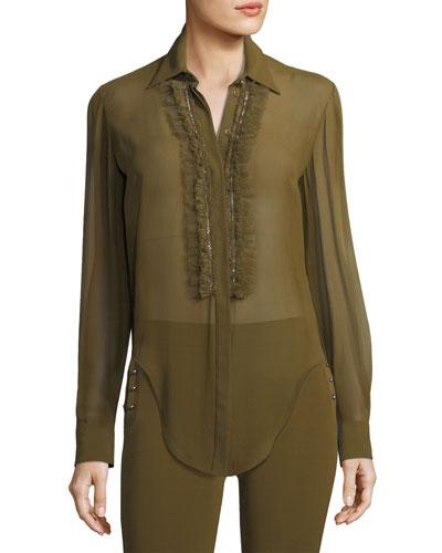 Ruffle-Trim Silk Shirt
