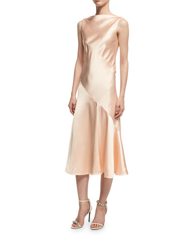Satin Bias-Cut Midi Dress