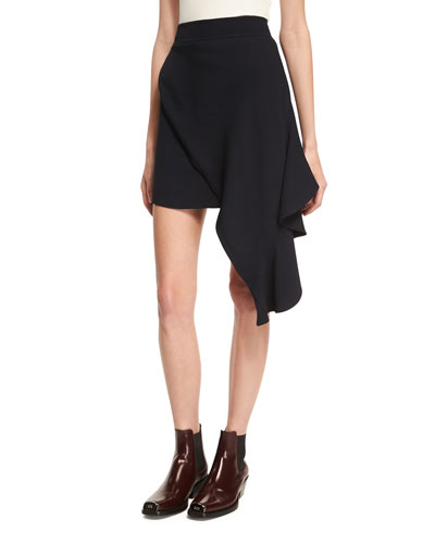 Draped Sable High-Low Miniskirt