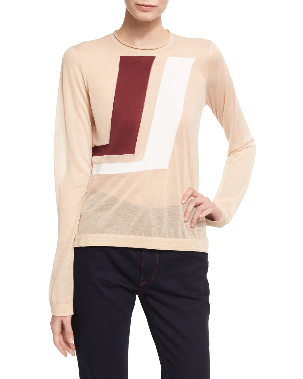 Two-Tone Graphic Sweater