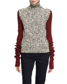 Two-Tone Chunky Tweed Turtleneck Sweater