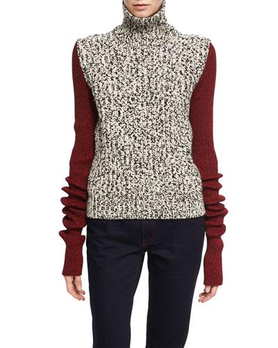 Two-Tone Chunky Tweed Turtleneck Sweater