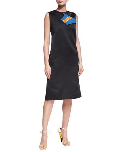 Sleeveless Midi Dress with Striped Neckline