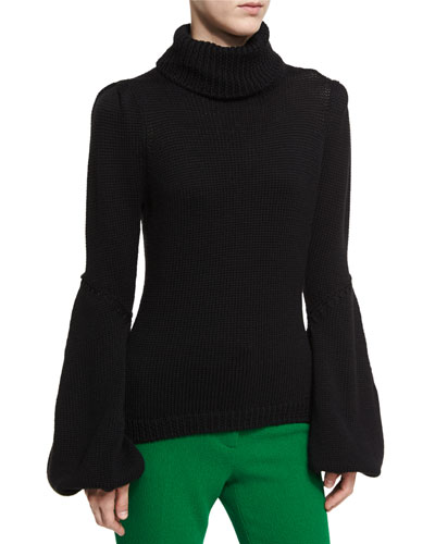 Knit Wool Bell-Sleeve Sweater