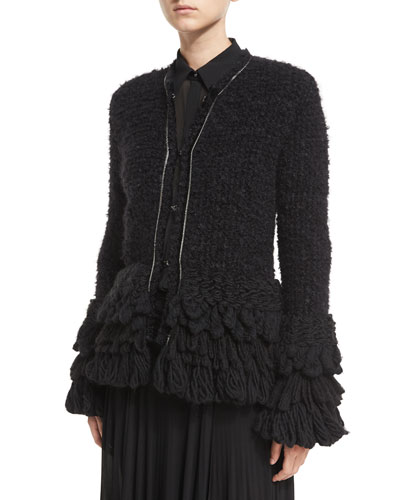 Yarn-Fringe Peplum Cardigan Sweater