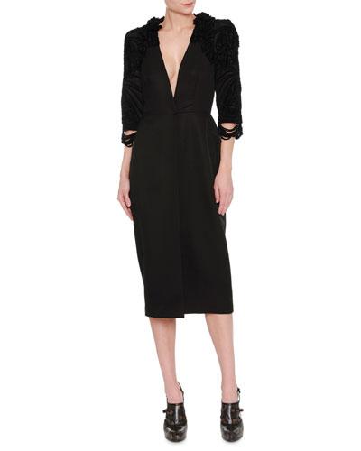 Beaded V-Neck Sheath Dress