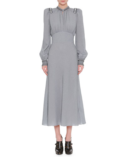 Embellished Lurex Long-Sleeve Dress