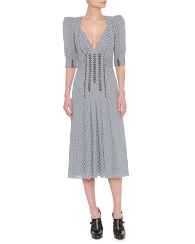 Studded Metallic Midi Dress