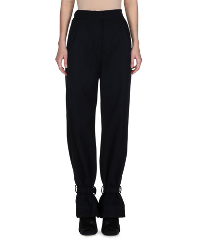 High-Waist Ankle-Tie Gabardine Pants