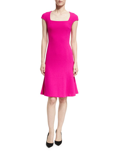 Square-Neck Cap-Sleeve Dress