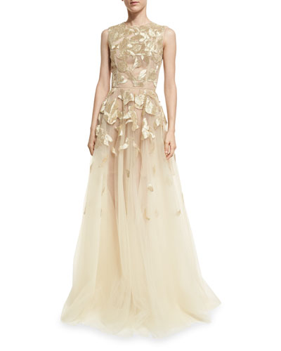 Sleeveless Wire-Embroidered Tulle Gown
