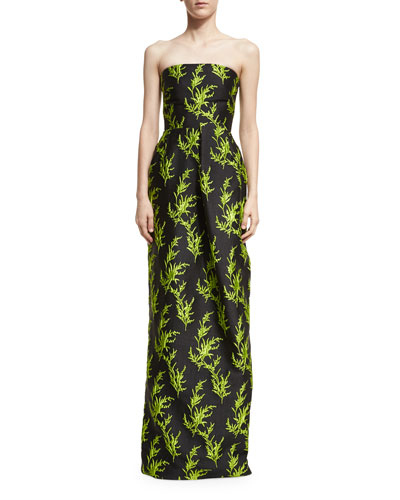 Vine-Embroidered Strapless Column Gown