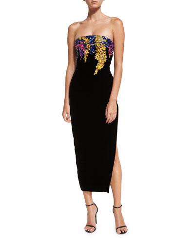 Strapless Paillette Trellis Gown