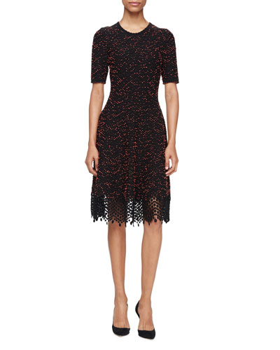 Speckled-Tweed Lace-Hem Dress, Black/Coral