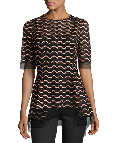 Wave Lace Flared-Hem Top, Shell/Black