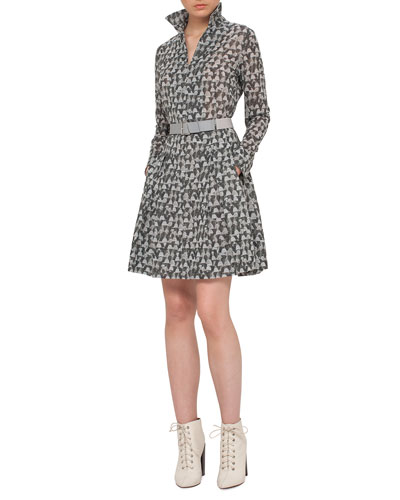 Ai-Print Long-Sleeve Belted A-Line Dress