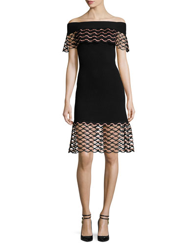 Wave-Lace Off-the-Shoulder Dress, Black