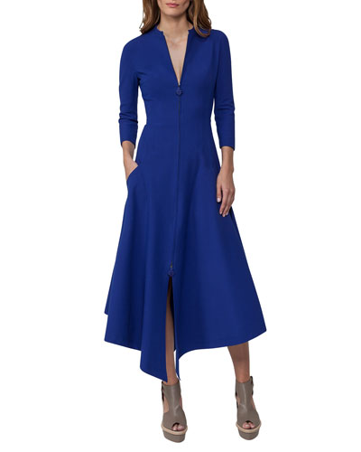 Redingote Zip-Front Long-Sleeve Dress, Blue