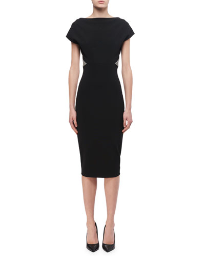 Contrast-Trim Sheath Dress