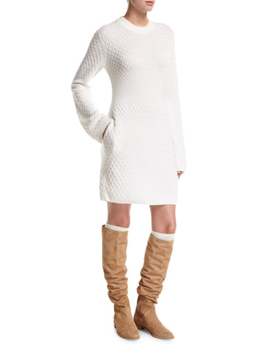 Loro Piana Cable - Knit Cashmere Sweater Dress with Pockets