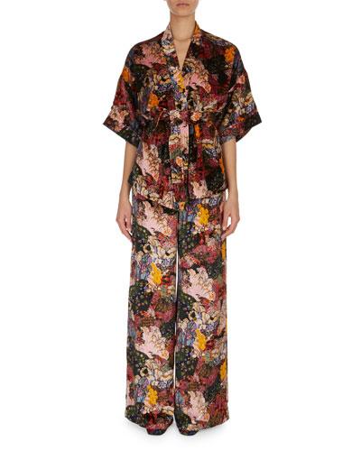 Zeta Floral-Print Velvet Kimono Jacket