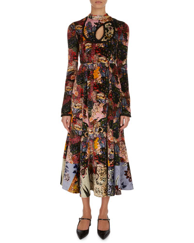 Zuzanna Patchwork Floral Velvet Midi Dress