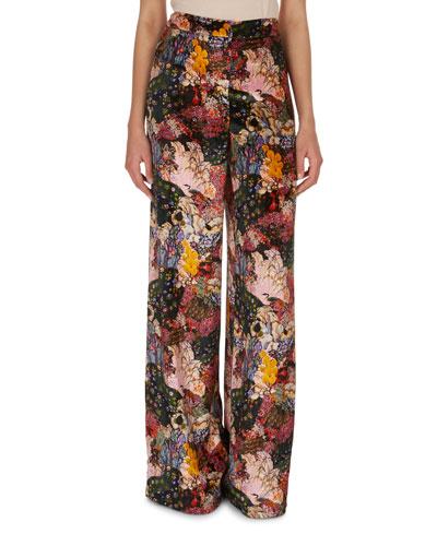 Birte Floral-Print Velvet Pajama Pants