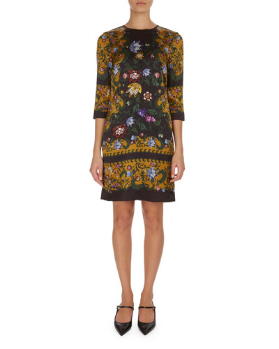 Emma Floral Elbow-Sleeve Minidress