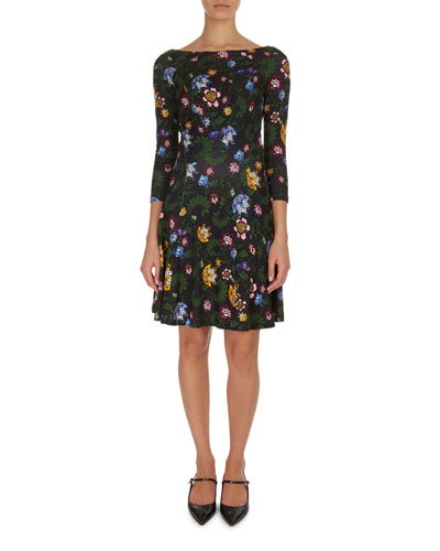 Vivi Floral Boat-Neck Minidress