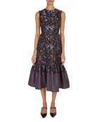 Maelee Floral Jacquard Midi Dress