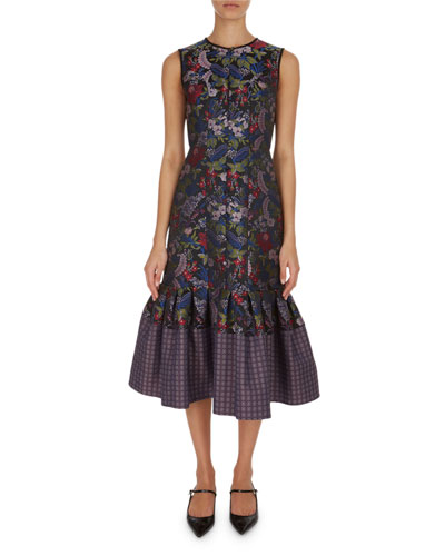 Maelee Floral Jacquard Midi Dress
