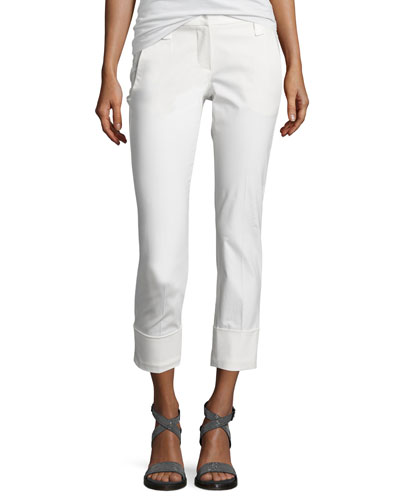 Cropped Twill Straight-Leg Pants, White
