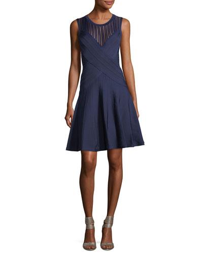 Pico-Trim Pointelle Fit & Flare Dress